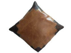 Two Tone Genuine Leather Cushion Cover