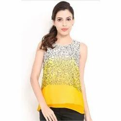 Georgette Round Neck Ladies Sleeveless Top, Packaging Type: Packet