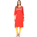 3/4th Sleeve Orange Rayon Embroidered Kurti, Size: S, M & Xxl