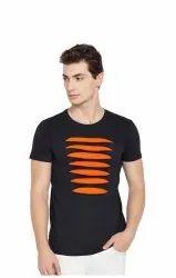 Bkack and orange Cotton T Shirt