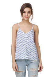 Linen Sleeveless Stripe Western Crop Top