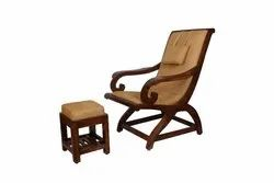 Riyo Moda Weight: 15Kg Adele Teak Wood Relaxing Chair With Foot Rest for Home, Finish: Walnut