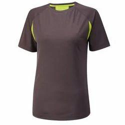 Brown, Green Half Sleeve Ladies Sports T-Shirt