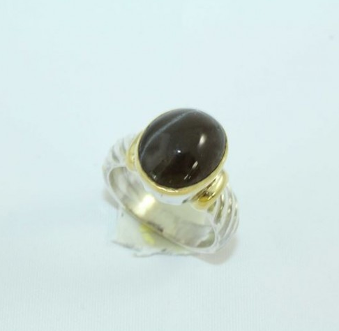 Silver And Gold bination Ring With Cat Eye Gemstone at Rs 5000