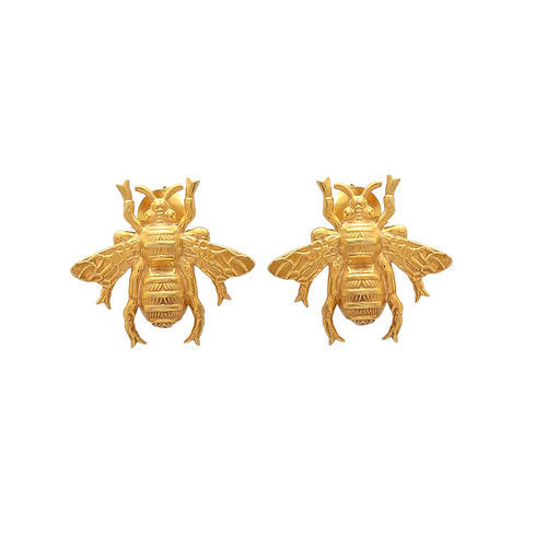 Nice Style Pretty Bee Earring Stud 925 Silver Gold Plated Earstud