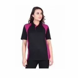 UB-D-Tee-13 Black & Magenta Polo T-Shirt For Female