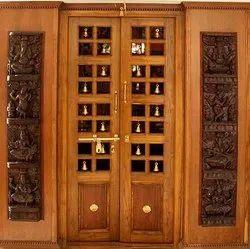 Brown Teakwood Pooja Room Doors
