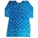 Ladies Printed Blue Cotton Kurti, Size: S, M & L