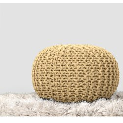 Multi Color Home Decor Boho Knitted Pouf Round Storage Ottoman