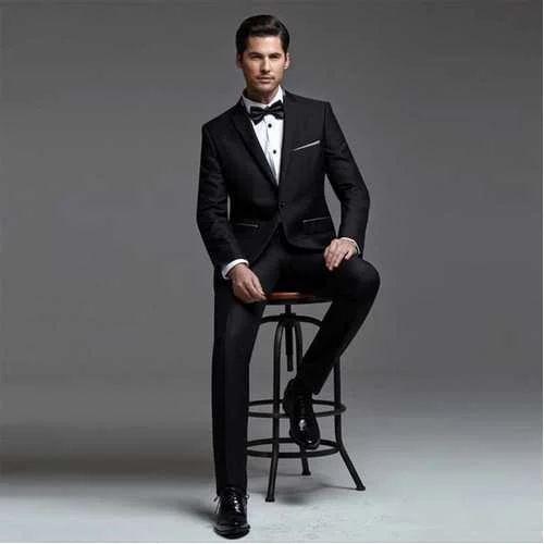 Cotton 32 To 44 Mens Black Formal Suit