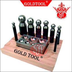 Gold Tool Dapping Punch Set With Domming Block & Wooden Stand
