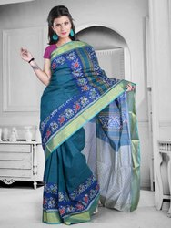 Summer Special Green Cotton Patola With Zari Border Saree (Snhp1)