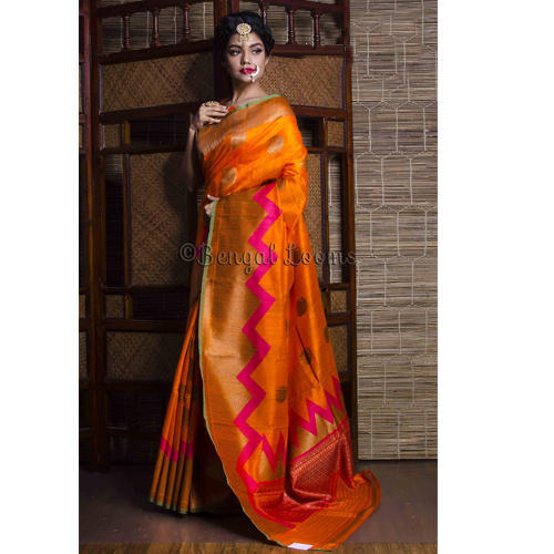 28c921e1af Pure Handloom Tussar Silk Banarasi Saree in Orange and Rani at Rs ...