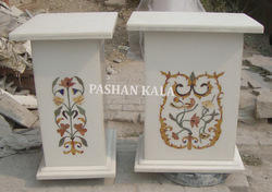White Marble Inlay Tables Base