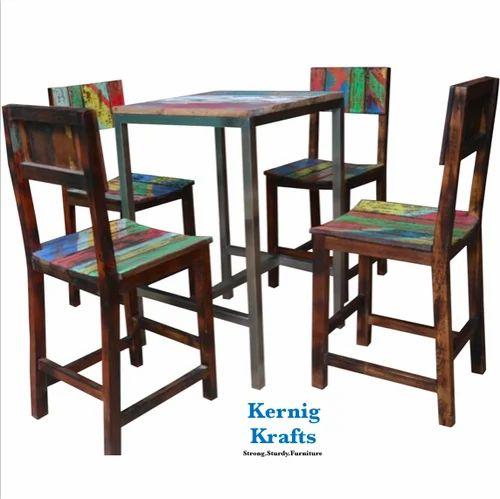 Kernig Krafts Jodhpur Color In Trend Cafe Set Rustic Wooden Metal Furniture Table Chair
