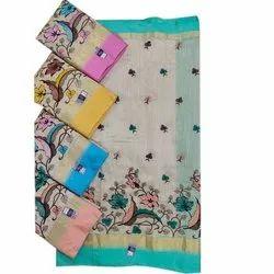 Casual Wear Slub Cotton Embroidery Saree, 5.5 m (Separate Blouse Piece)