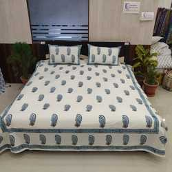 Jaipuri hand block print bed sheet with 2 pillow covers 100% cotton handmade Indian bedspread