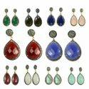 Carnelian Pave Diamond Set Earrings