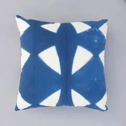 Tie Dye Blue Boho Cotton Cushion Cover