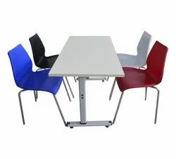 Silver Mild Steel Foldable Cafeteria Table, Seating Capacity: 4, Size: 1200 l x (450-600)