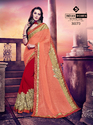 Indian Women Peach And Red Chiffon And Georgette Saree