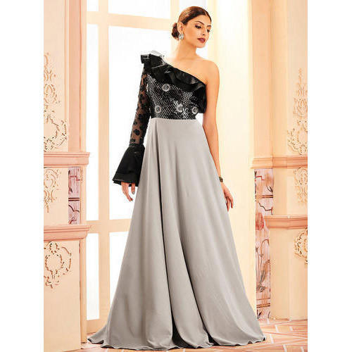 28f4999b5d2175 Grey And Black Wedding Wear Khwaab One Shoulder White Flared Gown ...