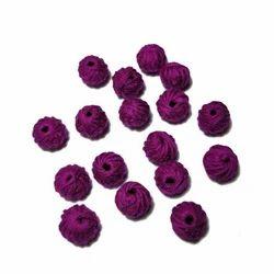 Round Purple Cotton Thread Beads, Size: 10mm
