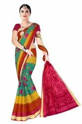 suprabhat Casual Wear Golden Patta Saree, Box Packing, 5.5 m (separate blouse piece)