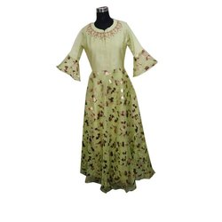Party Wear 3/4th Sleeve Ladies Net Gown, Size: 36-46, Machine wash