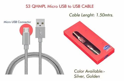 Silver 1.5 m USB Data Cable, For Mobile Charing