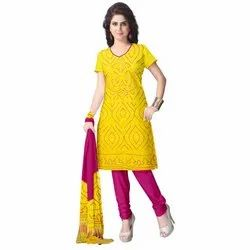 Yellow And Pink Color Fancy Design Gaji Silk Dress Material