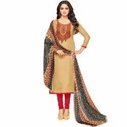 Rajnandini Beige Chanderi Silk Printed Semi-Stitched Dress Material With Printed Dupatta