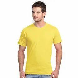 Mens Round Neck Yellow Plain T Shirt