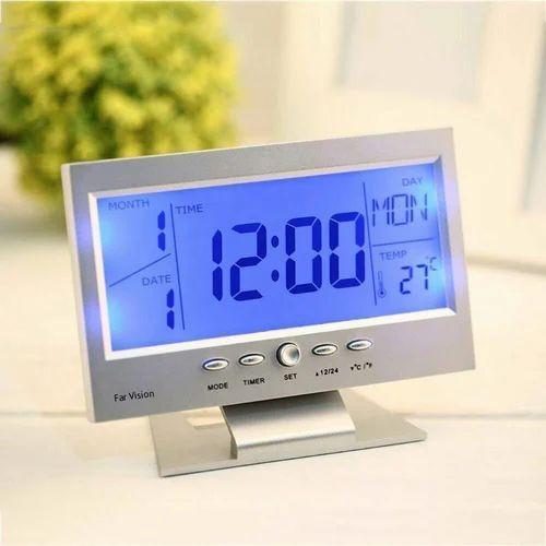 Digital Lcd Clock With Calendar Temperature Sensor Alarm For Table And Study Desk