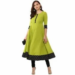 Yash Gallery Women's Cotton Slub Plain Anarkali Kurta