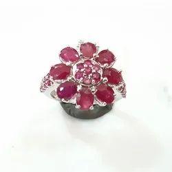 Flower Designer Ruby Sapphire Ring