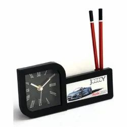 Pad And Pen Holder Table Clock