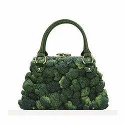 Star Shine Green Ladies Leather Handbag, for Casual Wear