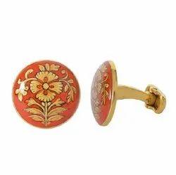 Hand Painted Golden Motif On Orange Enamel 92.5 Sterling Silver Cufflinks