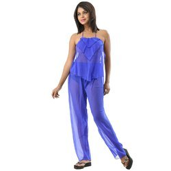 Fascinating Polyster 3- Piece Elegant Blue See Through Pajama Set
