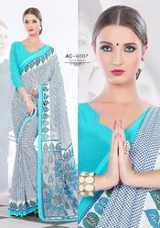 Unstiched Georgette Corporate Sarees, Construction Type: Machine