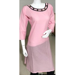 Pink Cotton Ladies Kurti