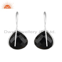Natural Black Onyx Gemstone Designer Fine Silver Earrings Jewelry