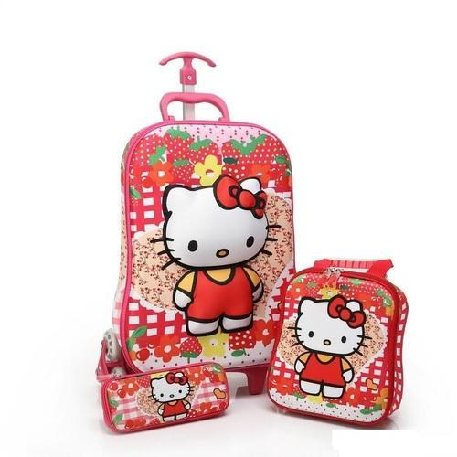60866342bd Children 3D 3Pcs Cartoon Trolley School Bag Set -Hello Kitty ...