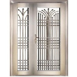 Hinged Silver Polished Stainless Steel Safety Door, For Residential