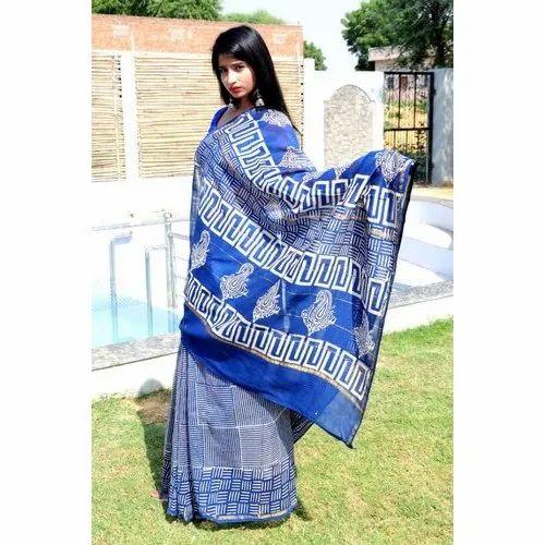 Ladies Designer Chanderi Saree, Packaging Type: Poly Bag