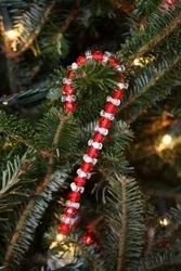 Glass Seed Beads Candy Cane Christmas Tree Ornaments Handmade Hanging Chritmas Tree Decorations