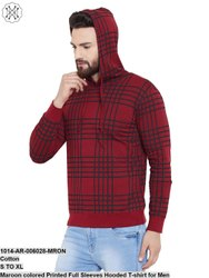 Gritstone Maroon Colored Printed Full Sleeves Hooded T-Shirt for Men