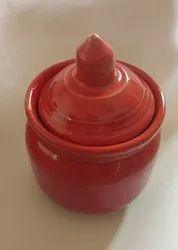 Red Plain Ceramic Jar 200ml