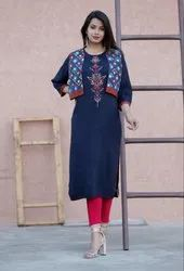 Blue Cotton Jacket Kurti